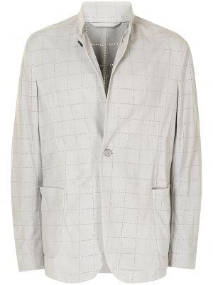 Белый кожаный пиджак Emporio Armani