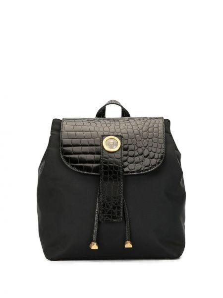 Черный нейлоновый рюкзак с тиснением на бретелях Versace Pre-owned