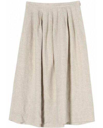 Льняная бежевая юбка миди с драпировкой Stefanel