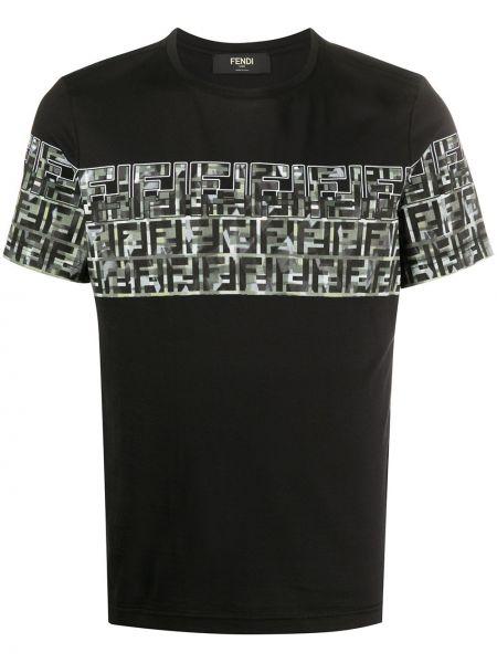 Koszula krótkie z krótkim rękawem z logo czarna Fendi