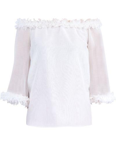Блузка с открытыми плечами с рюшами шелковая Blumarine