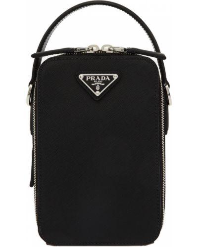 Кожаная сумка на молнии с логотипом Prada