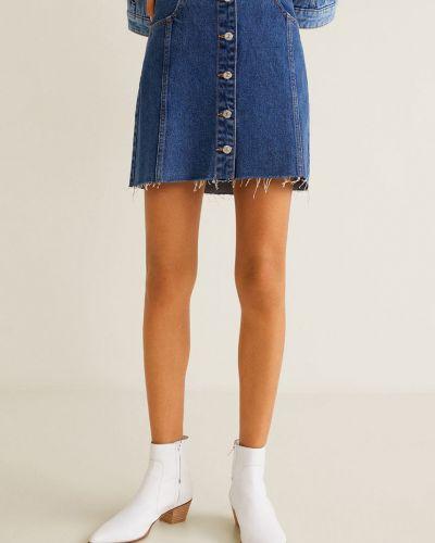 Юбка мини джинсовая на пуговицах Mango