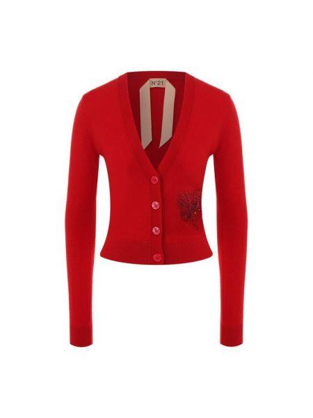 Шерстяной красный кардиган с вышивкой с V-образным вырезом No. 21