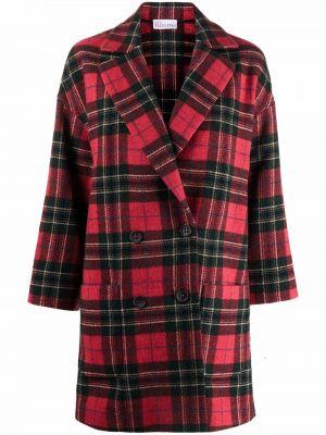 Шерстяное красное длинное пальто в клетку Red Valentino