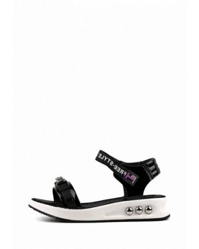 Лаковые черные кожаные сандалии Leberdes