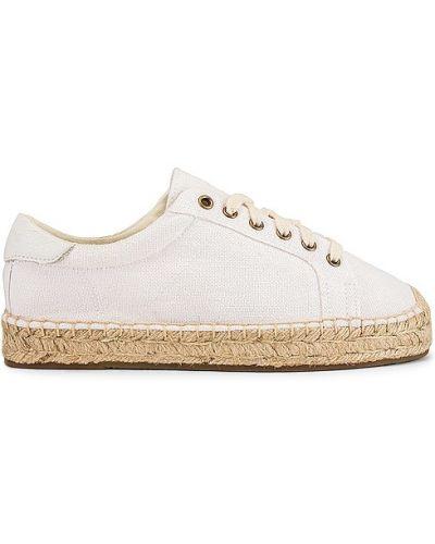 Białe sneakersy na platformie bawełniane Soludos