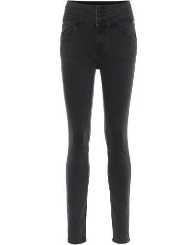 Ватные хлопковые зауженные черные джинсы-скинни J Brand