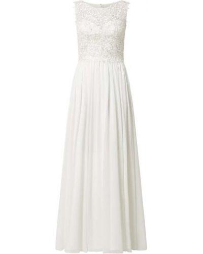 Biała sukienka rozkloszowana z szyfonu Mascara