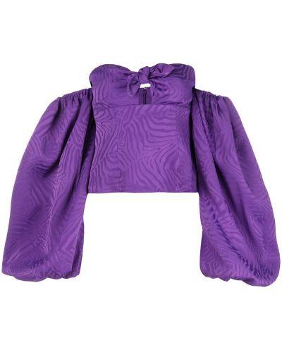 Блузка с открытыми плечами с пышными рукавами с бантом Attico
