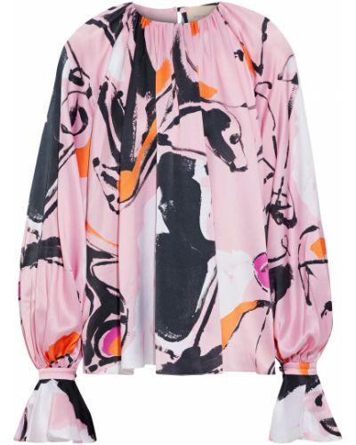 Satynowa różowa bluzka zapinane na guziki Roksanda