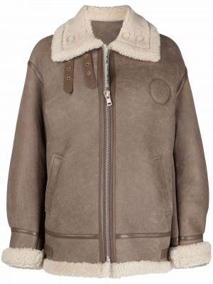 Кожаная куртка длинная - коричневая Liska