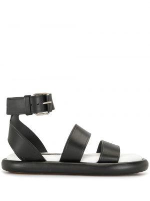 Czarne sandały skorzane płaska podeszwa Proenza Schouler