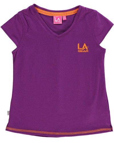 Fioletowa koszula bawełniana krótki rękaw La Gear