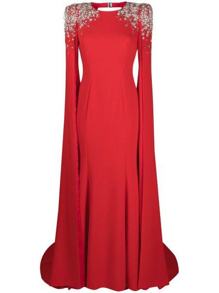 Красное платье макси с вырезом круглое Jenny Packham