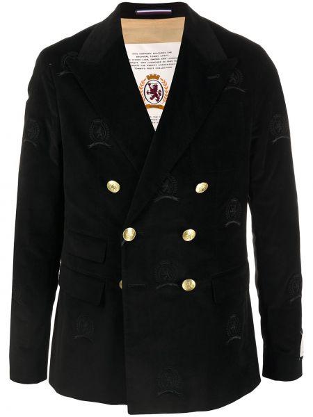 Бархатный черный пиджак с карманами с вышивкой Hilfiger Collection