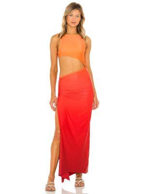 Платье с разрезом - оранжевое Agua Bendita