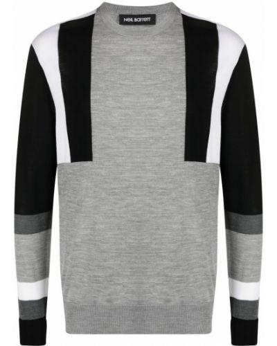 Biały pulower wełniany z długimi rękawami Neil Barrett