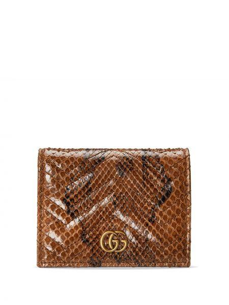 Brązowy skórzany portfel z gniazdem pozłacany Gucci