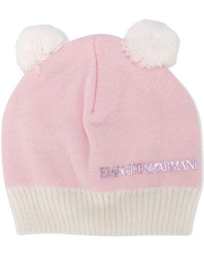 Вязаная розовая шерстяная кепка Emporio Armani Kids