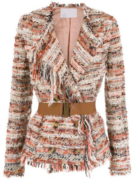 Удлиненный пиджак твидовый с бахромой Nk