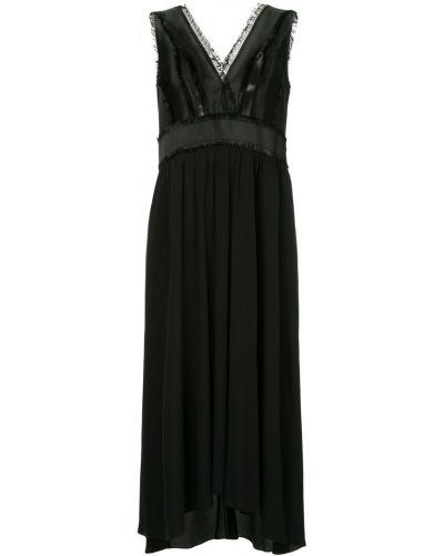 Платье миди с бахромой черное Jil Sander Navy
