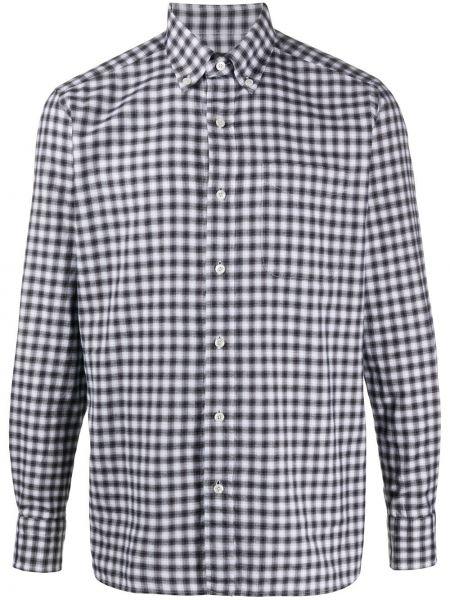 Koszula z długim rękawem w kratę czarny i biały Tom Ford