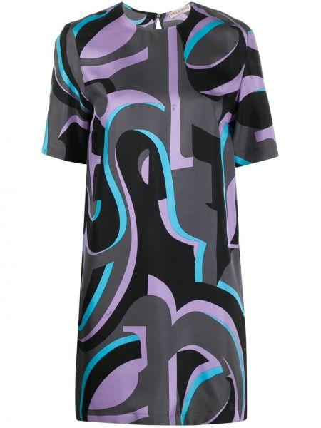 Свободное шелковое платье мини трапеция Emilio Pucci