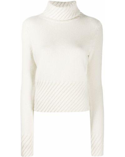 Белый кашемировый джемпер в рубчик с высоким воротником Chinti & Parker