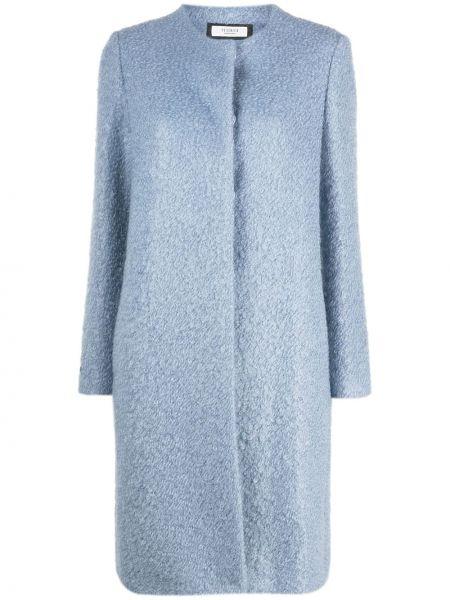 Niebieski płaszcz wełniany z długimi rękawami Peserico