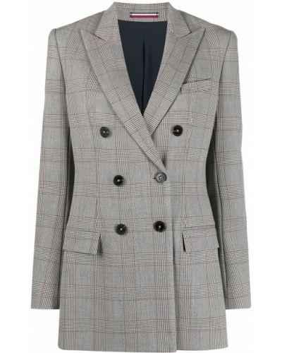 Серый пиджак в клетку двубортный Tommy Hilfiger