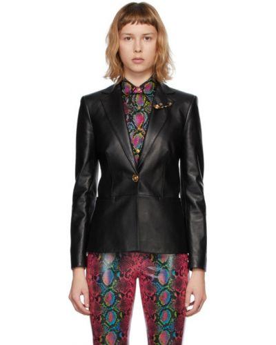Черный кожаный удлиненный пиджак с накладными карманами Versace