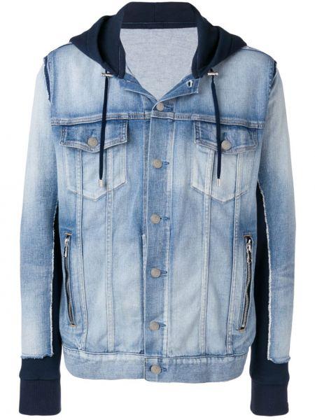 Ze sznurkiem do ściągania bawełna kurtka jeansowa z kieszeniami z długimi rękawami Balmain