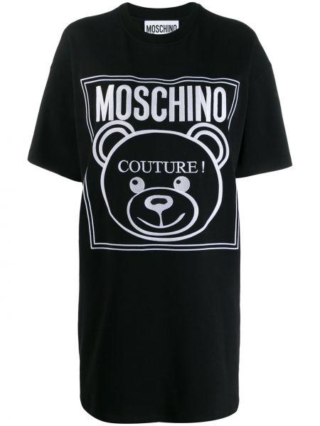 Платье мини футболка в рубчик Moschino