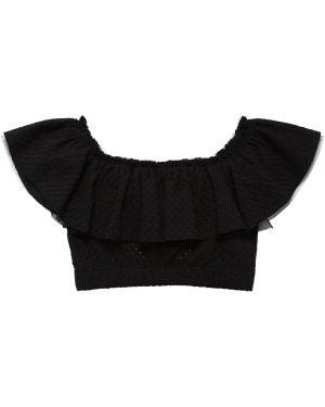 Czarny crop top koronkowy sznurowany Monnalisa