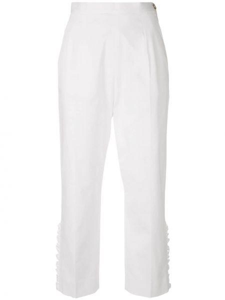 Белые укороченные брюки с поясом из вискозы с оборками I'm Isola Marras
