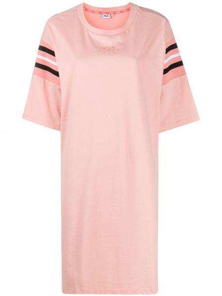 Свободное розовое платье-рубашка с вышивкой Fila