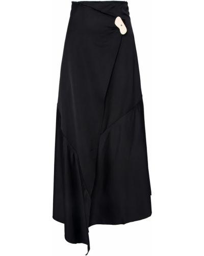 Шерстяная черная юбка миди с запахом A.w.a.k.e.