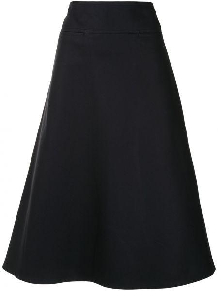 Хлопковая синяя с завышенной талией юбка миди на молнии Sofie D'hoore