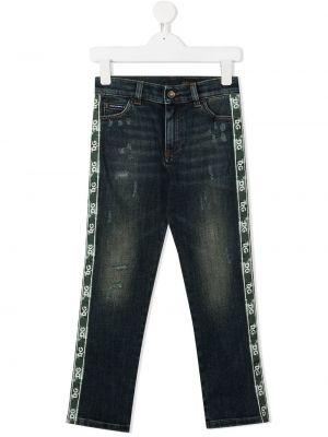 Синие кожаные джинсы с нашивками Dolce & Gabbana Kids