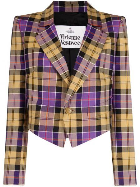Шерстяной удлиненный пиджак в клетку с воротником Vivienne Westwood
