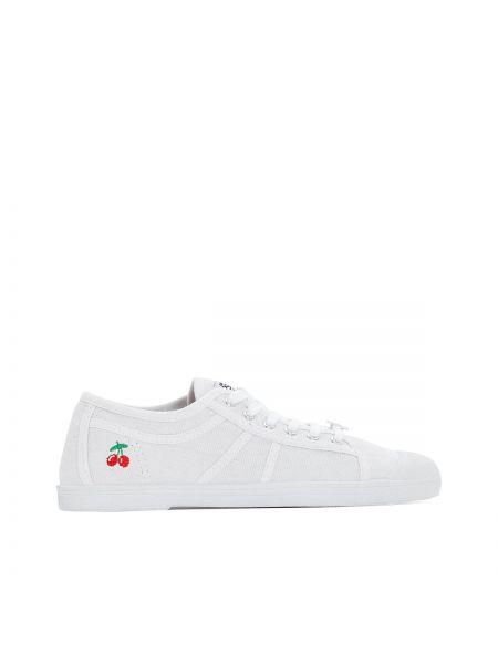 Спортивные белые текстильные кроссовки на каблуке Le Temps Des Cerises