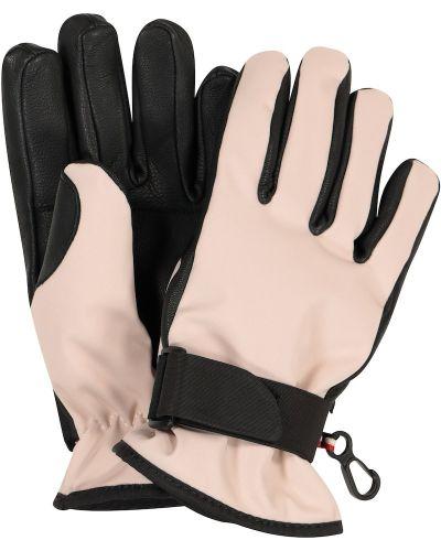 Różowe rękawiczki skorzane Moncler Enfant