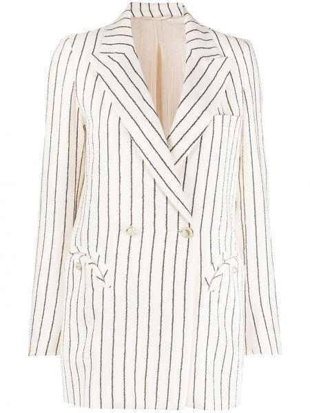 Белая классическая прямая куртка с карманами Blazé Milano