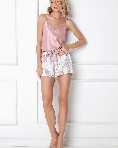 Różowa satynowa piżama koronkowa Aruelle
