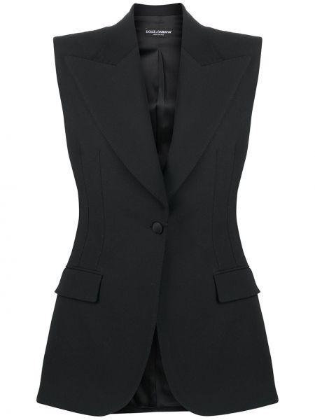 Czarna kamizelka wełniana bez rękawów Dolce And Gabbana