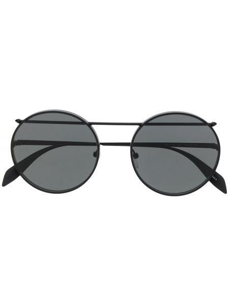 Черные солнцезащитные очки круглые металлические Alexander Mcqueen