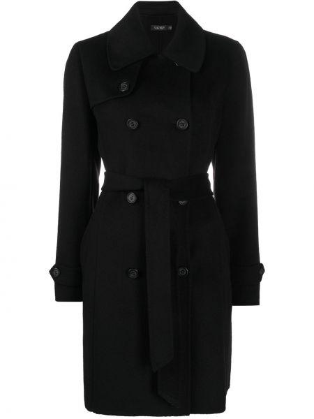 Шерстяное черное пальто классическое двубортное Polo Ralph Lauren