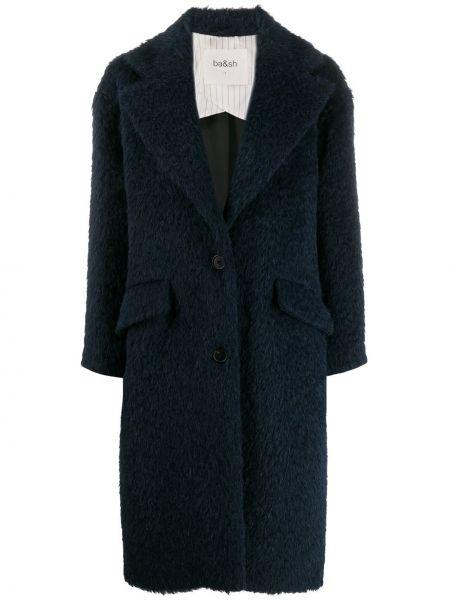 Синее пальто на пуговицах с капюшоном Ba&sh