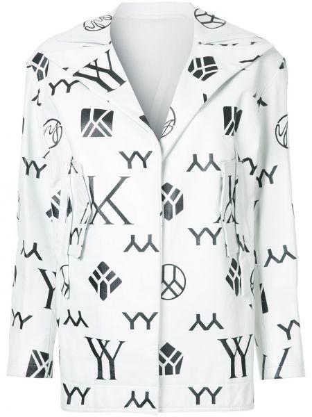 Белая кожаная куртка винтажная Yohji Yamamoto
